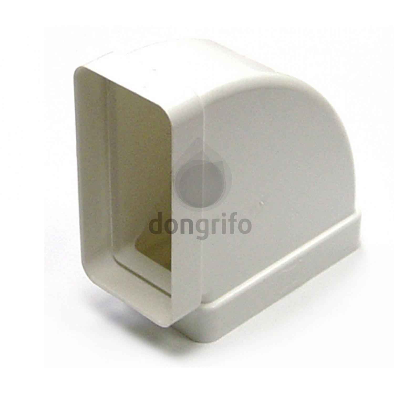 Codo rectangular horizontal de pvc blanco para tubo for Extraccion humos cocina